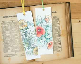 Flower Bookmarks - Nasturtium or Marigold illustration art bookmark with hand-tied ribbon