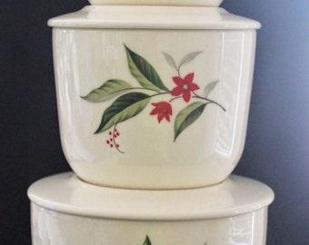 Vintage Universal Potteries - Cambridge WOODVINE Refrigerator Bowl Set (3)vwith Pitcher