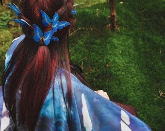 2 butterfly blue hair pins, bridal hair piece, whimsical wedding accessory, bridal head piece, woodland wedding
