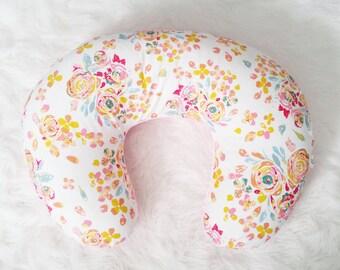Floral Nursing Pillow Cover, Swifting Flora, faux fur boppy, floral nursery