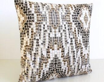 Ikat Pillow Cover, Luxury Pillow Cover, 16 Inch Pillow Sham, 16x16 Cushion Cover, Brown Velvet Pillows - Ikat Velvet Brown