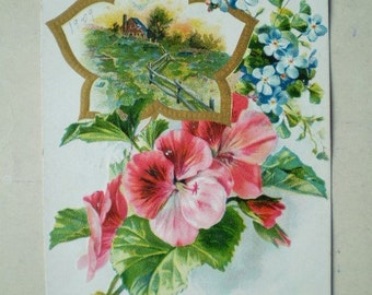 Happiness On Your Birthday - 1908 - Antique Canadian Postcard - Blue Forgetmenots & Pink Hibiscus Flowers
