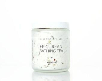 Bath Tea | Coconut Bath Milk with Chamomile, Rose + Honeysuckle | Luxury Bath Soak | Spa & Relaxation | Epicurean Bathing Tea