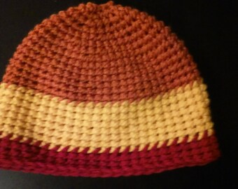 Tricolor Crocheted Beanie Teen/Adult Small