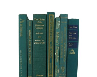 Green Turquoise Used Books, Home Decor, Old Book Sets, Housewarming Gift, Wedding Decor, Book Lover Gift,  Book Stack, Book Collection