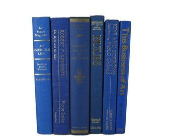 Blue  Decorative Books , Old Book Set , Photo Props ,  Wedding Book Decor , Book Lover Set
