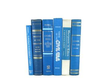 Blue  Decorative Books , Blue Books , Blue Vintage Books , Photo Props , Wedding Decor , Home Decor, Book Decor , Hardcover Books ,