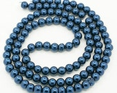 140 Glass Beads 6mm Faux Steel Blue Pearl Strand - BD369