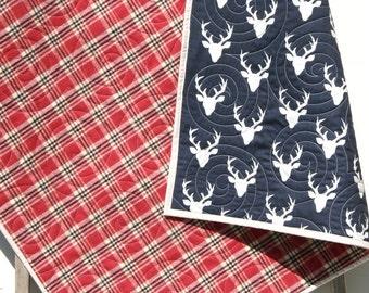 Deer Baby Quilt, Plaid Flannel Modern Bedding, Crib Cot Nursery Woodland Buck Toddler Navy Blue Boy or Girl Blanket Lumberjack Flannel