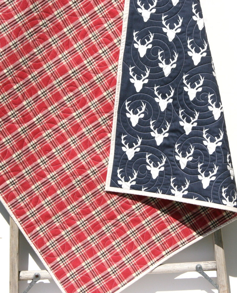 Deer Baby Quilt Plaid Flannel Modern Bedding Crib Cot