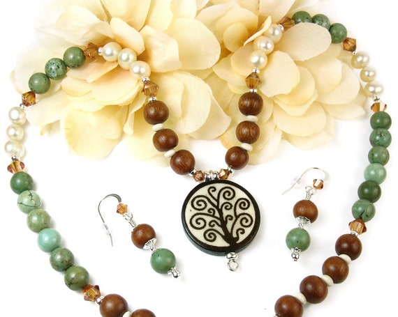 Tree of Life Necklace Set - Boho Unique Woodland Jewelry By Mary of Pretty Gonzo