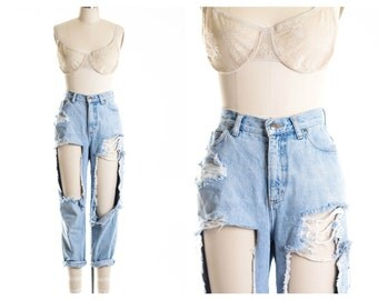 All SIZES  High Waist Custom Made Destroyed Boyfriend Jeans Plus Sizes