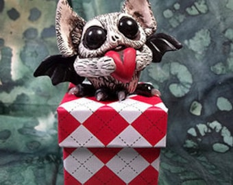 Barthaomew the Beloved Bat Cute Gothic Polymer Clay Cake Topper Desk Buddy Handmade Figurine Gift Box Engagement Ring Box OOAK