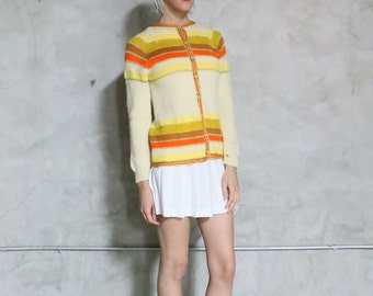 cardigan, button front, 60s vintage orange, beige, gold, mustard, yellow, amber brown, striped knit cardigan  womens small s