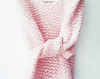 Pale pink long sleeved sharp shoulder hand knit womens sweater light pink blush for her modern minimalist knitted gift christmas gift guide