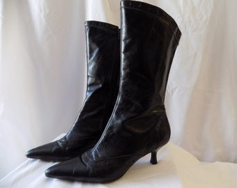 Vintage Black Leather Victorian Style Boots size 8 By Kenneth Cole