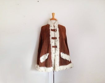1960s  real suede cape with faux fur trim