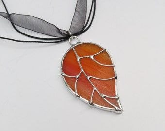Apricot peachy pink stained glass leaf pendant free shipping one of a kind jewelry handmade