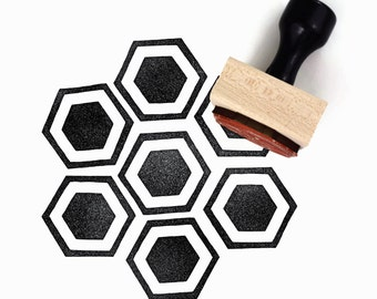 Rubber Stamp Honeycomb Pattern (Lg) - Hand Drawn Geometric Hexagon Pattern Stamp