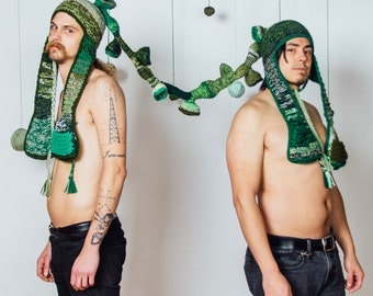 Snorgasborg - crochet hat for two in multicolor greens, attached by tube, with pockets