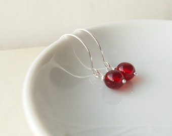 Simple Silver and Red Earrings - Red Drop Silver Hoop Earrings - Red and Silver Dropper Earrings - Red Earrings with Silver hoops