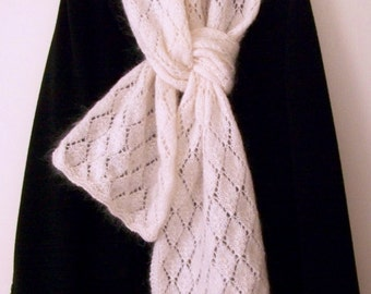 Hand knit Scarf, Knit Scarf, White Scarf, Lace Scarf, Knitted Muffler, Mohair Scarf, White Lace Knit Scarf