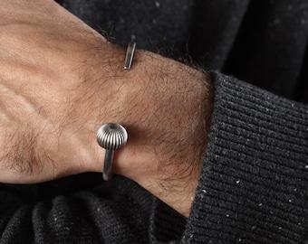 Mens Silver Cuff Bracelet, Open Cuff Bracelet for Men in Sterling Silver