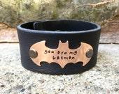 Boyfriend Gift, Batman Bracelet, Mens Leather Bracelet, Christmas Gifts For Him, Personalized Leather Bracelet, natashaaloha