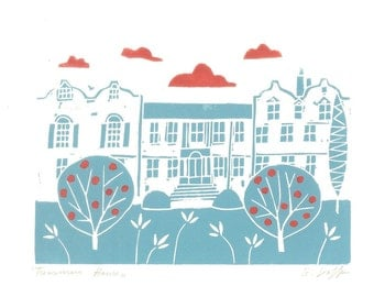 Treasurers House, York Linocut Print - Yorkshire UK -  Hand Printed Original Lino Print , Duck Egg Blue, Architecture - Contemporary