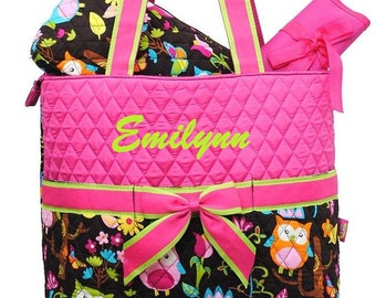 Personalized Diaper Bag Quilted OWL Hot Pink 3pc Set