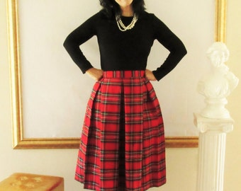 Red Plaid Pleated Skirt School Girl Christmas Plaid Midi or Mini Skirt