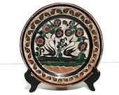 Vintage Jose Bernabe Petatillo Glaze Crosshatch Clay Pottery Swan Plate