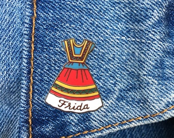 Frida Dress, Frida Kahlo Pin, Hard Enamel Pin, Jewelry, Art, Artist, Gift (PIN58)