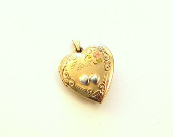 Tru-Kay 14KT Gold Filled Heart Locket / Engraved 'I Love You' / Floral Scroll Design / Vintage Locket