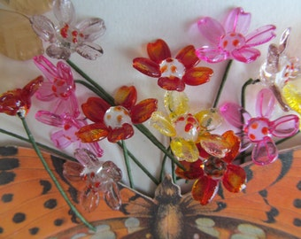 Vintage Glass French Flowers And Leaves On Wire