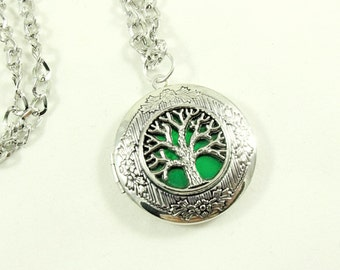 Silver Locket Necklace,           Green Enameled Celtic Tree of Life   Handmade