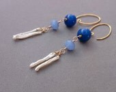 Long Blue Earrings - Freshwater Pearl Earrings with Royal Blue Glass and Gold Fill