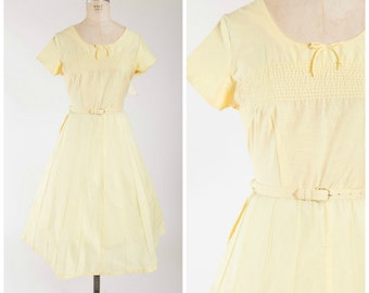 Vintage 1950s Dress • Sunny Siesta • Yellow Cotton 50s Vintage Day Dress with Deadstock Tags Size Large