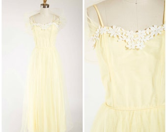 Vintage 1960s Formal Dress • Enchanted Fables • Yellow Tulle Early 60s Tea Length Party Dress with Shawl Size Small