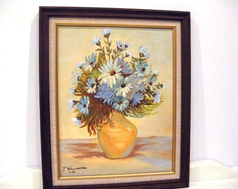 Vintage Painting - Blue Cornflowers - 1980's - Still Life Painting - Acrylic on Canvas Booard - Framed - Vintage Wall Decor