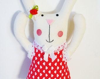 Valentines day personalised bunny rabbit plush.