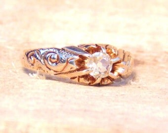 Antique Victorian Yellow Diamond .33 Carat Solitaire 14K Yellow Gold Ring, Engagement