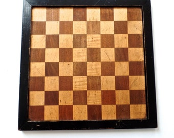 Antique English Inlaid Chess Checker Board, Antique Board Games