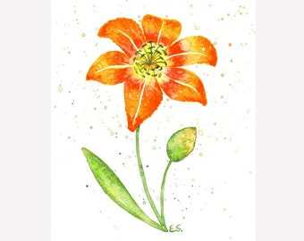 Lily painting Original watercolor art Plant painting Orange red yellow flower wall art Day lily Floral spring home decor