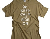 Horse Gifts - Equestrian Gift - Love Horses Keep Calm Ride On Shirt - Horse Shirt for Men Women and Teens