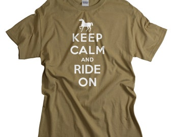 Equestrian Gifts - Equestrian Clothing for Men Women and Teens - Keep Calm Ride On - Horseback Riding Gift Shirts - Equestrian Shirts