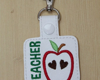 Teacher apple snap tab, Teacher keychain, Teacher gift, back to school teacher key fob, Apple for the teacher key snap tab