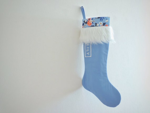 Personalized Christmas Stocking Personalized Stocking, Blue Christmas Floral Stocking, Modern Fur Cuff Girl Flowered Holiday, Modern Classic