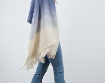 Indigo hand woven shawl, Ombré Blue blanket scarf wool, Indigo merino wool dip dye, eco fashion ombré wrap