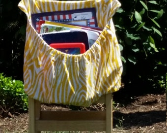 Yellow WILLOW ChEvRoN Chair Pockets Teacher Classroom Seat Sacks Organization <<16 inch PREMIUM>> End of Year SALE